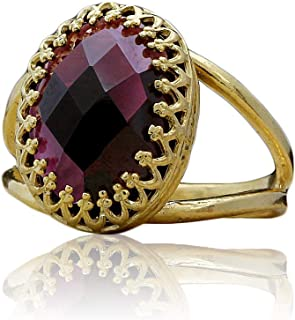 Anemone Jewelry Striking Garnet Ring in 14k Gold-filled Ring Band - January Birthstone Rings Handcrafted by Skilled Artisan [Sizes 3-12.5] - Garnet Jewelry for Every Occasion [Free Fancy Gift Box]