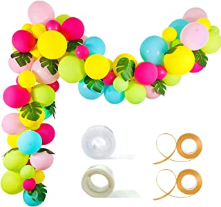 Tropical Balloon Garland Kit - 92 Pack Yellow Aqua Blue Rose Red Fruit Green Baby Pink Balloons Palm Leaves Garland Strip Set for Baby Shower Hawaii Flamingo Luau Party Supplies Birthday Wedding Decor