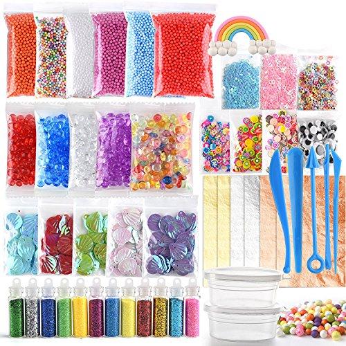 FEPITO 49 Packs Slime Supplies Kit einschließlich Goldfischperlen, Shakes, Muscheln, Scheiben, Konfetti, Schaumperlen, Schleimwerkzeugen & Imitation von Blattgold (kein Schleim enthalten)