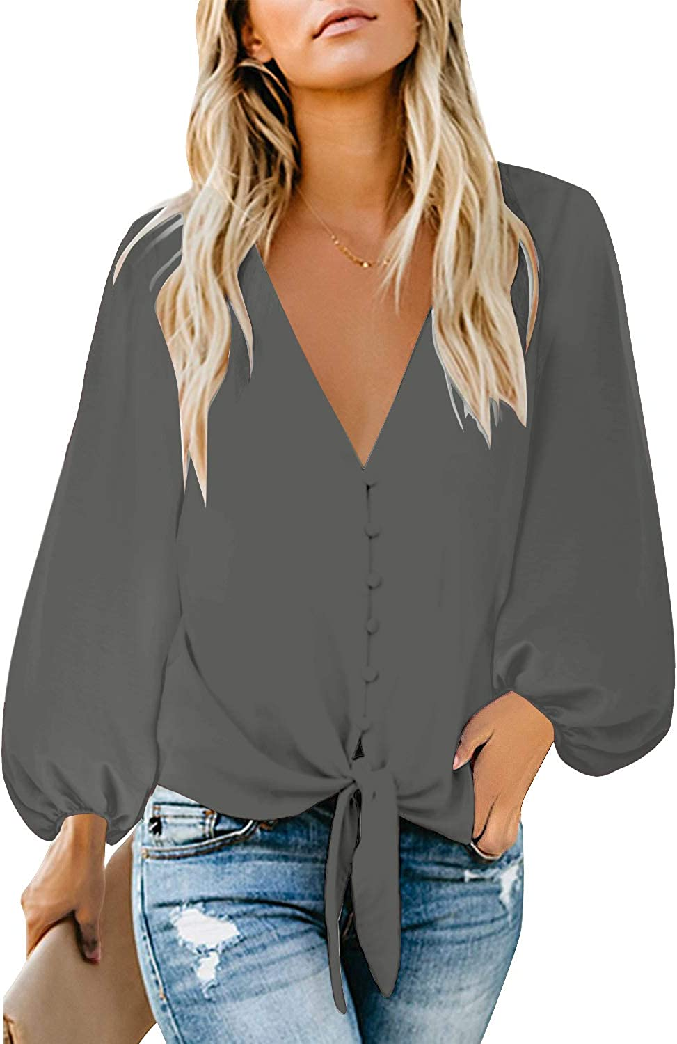 luvamia Women's Casual Long Balloon Sleeve V Neck Loose Button Down Shirts Tie Knot Tops Blouse