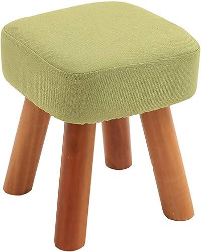 últimos estilos Taburete de madera para Niños, Diseño creativo de moda moda moda cuadrado con tela tapizada Taburete de madera maciza fácil de llevar para el dormitorio familiar de jardín de infantes, 28x28x32cm (Color  verde)  apresurado a ver