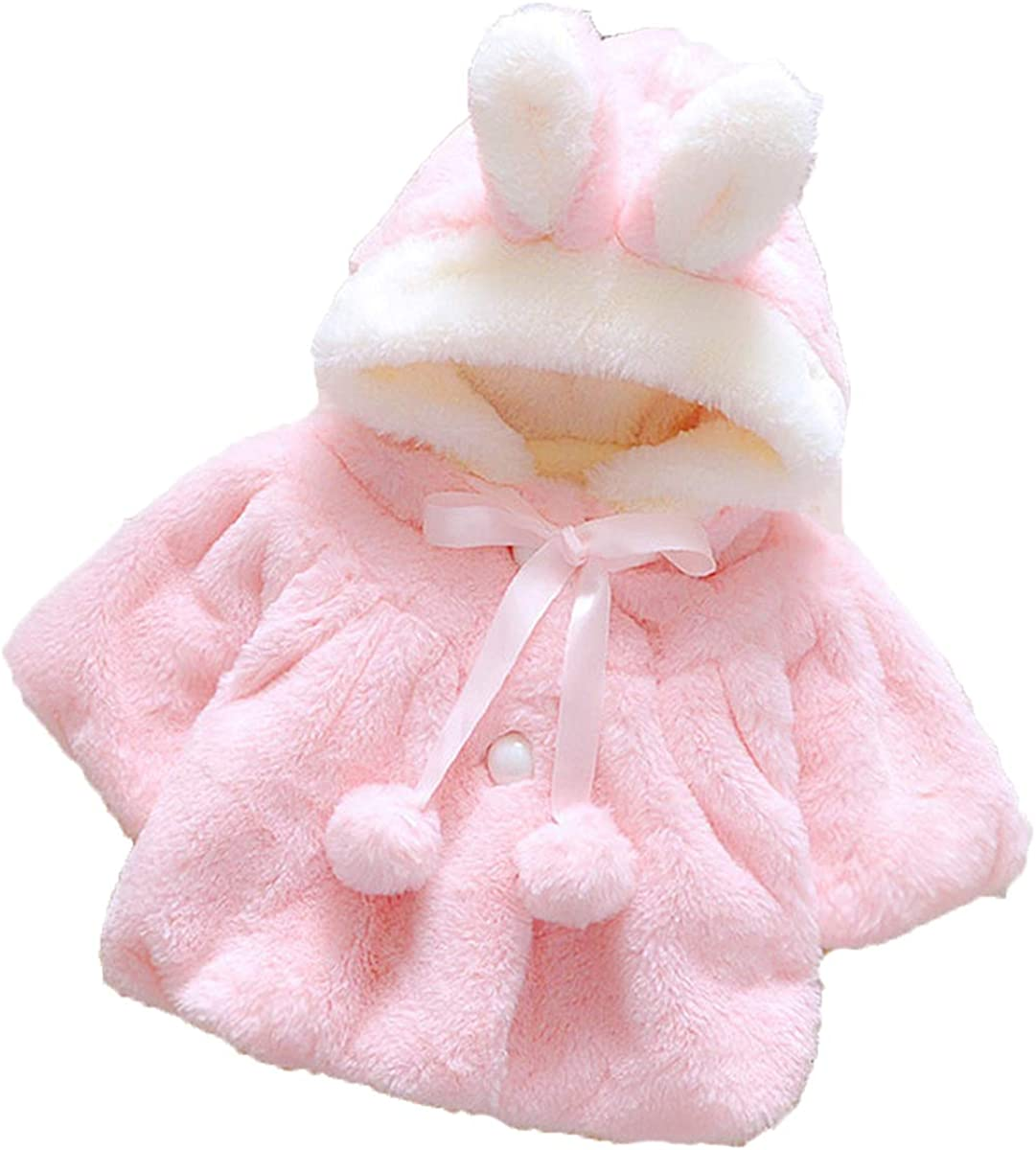 LXXIASHI Ranking integrated 1st 2021 new place Toddler Baby Girl Winter Fur Rabbit Ears Coat Hooded Ja