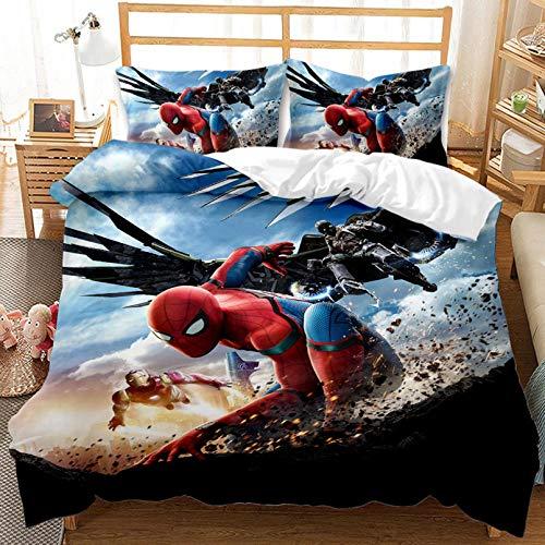Juego de funda de edredón 3D Marvel Spiderman de microfibra de dibujos animados Marvel Spider-Man - Super suave resistente a la decoloración - para niños (135 x 200 cm)