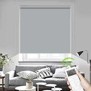 Motorized Window Roller Shades Blinds Remote Control Wireless and Rechargeable -100% Blackout Waterproof Fabric Shades for Home and Office Customized Size (Light Gray)