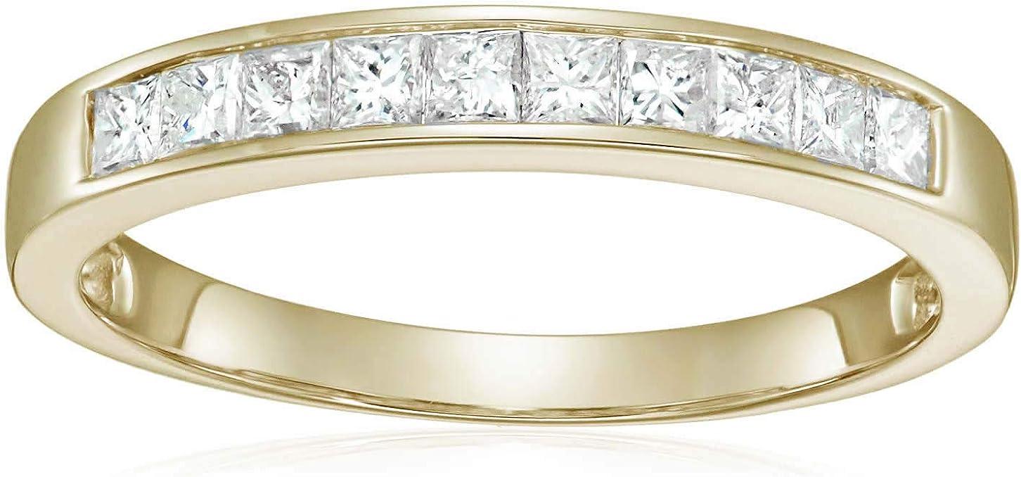 Vir Jewels 1/2 cttw Princess Cut Diamond Wedding Band 14K Yellow Gold Channel Set