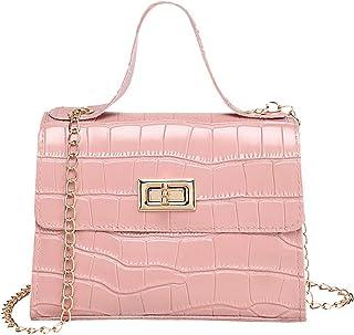 Clenp Monedero para mujer, impermeable, piel sintética, patrón de cocodrilo, para fiestas, bolso de hombro, color rosa, 17...