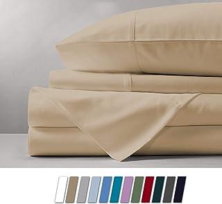 Mayfair Linen 1000 Thread Count Best Bed Sheets 100% Egyptian Cotton Sheets Set - Sand Long-Staple Cotton Queen Sheet for ...