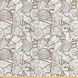 Lunarable Seashells Stoff von The Yard, Vintage-Stil,