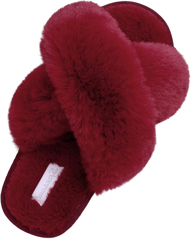 Furry Cross Slippers for Women Casual Open Toe Memory Foam Plush Fluffy Cozy Outdoor House Slide Slipper Shoes