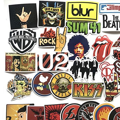 Luckyx 52 Stück Rock-and-Roll-Musik-Band-Aufkleber-Keine Doppelten Aufkleber, Laptop-Aufkleber, Autoaufkleber Aufkleber Graffiti Gitarre Skateboard Vinyl Aufkleber, Koffer Aufkleber