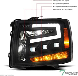 Topline Autopart Black Housing Full LED Sequential Tri...
