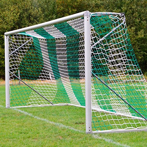 DONET Fußballtornetz 7,5 x 2,5 m Tiefe Oben 0,80 / unten 1,50 m, zweifarbig, PP 4 mm ø, grün/weiß