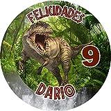 OBLEA de Dinosaurios T-Rex Personalizada con Nombre y Edad para Pastel o Tarta, Especial para cumpleaños, Medida Redonda de 20cm de diámetro