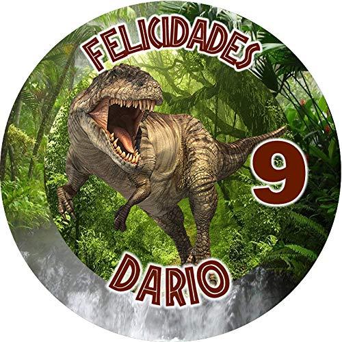 OBLEA de Dinosaurios T-Rex Personalizada con Nombre y Edad para