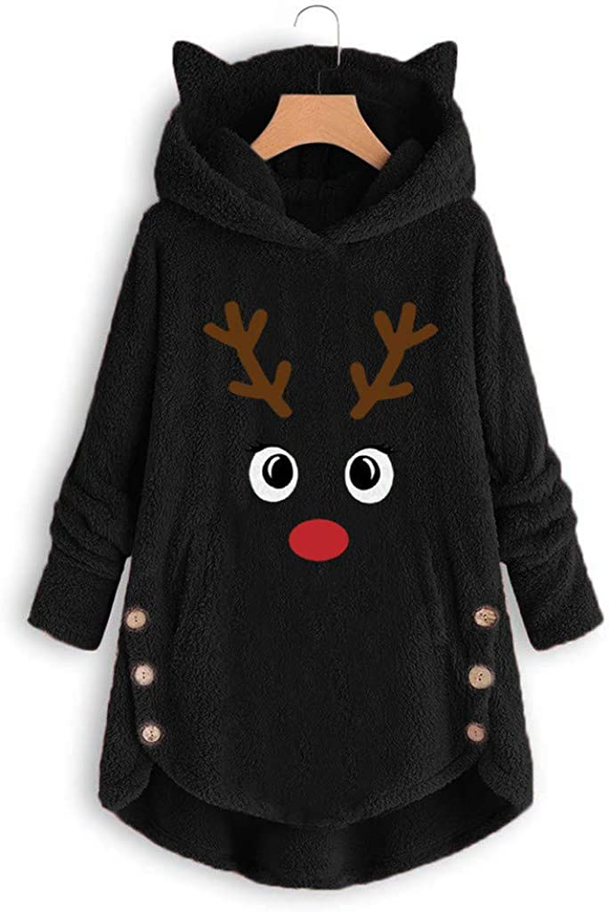 FUNEY Women's Polar Fleece Lined Christmas Embroidery Pullover Button Coat Loose Casual Plus Size Fluffy Sweater Blouse