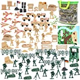 3 otters Military Figures and Accessories, 120 PCS Army Men Toys for Boys Military Soldier Playset Army Set Military Aircraft Car Military Map Pretend WWII Army Base
