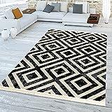 TT Home Skandi Teppich Schwarz Weiß Outdoor Balkon Terrasse Rauten Design Wetterfest, Größe:200x280 cm