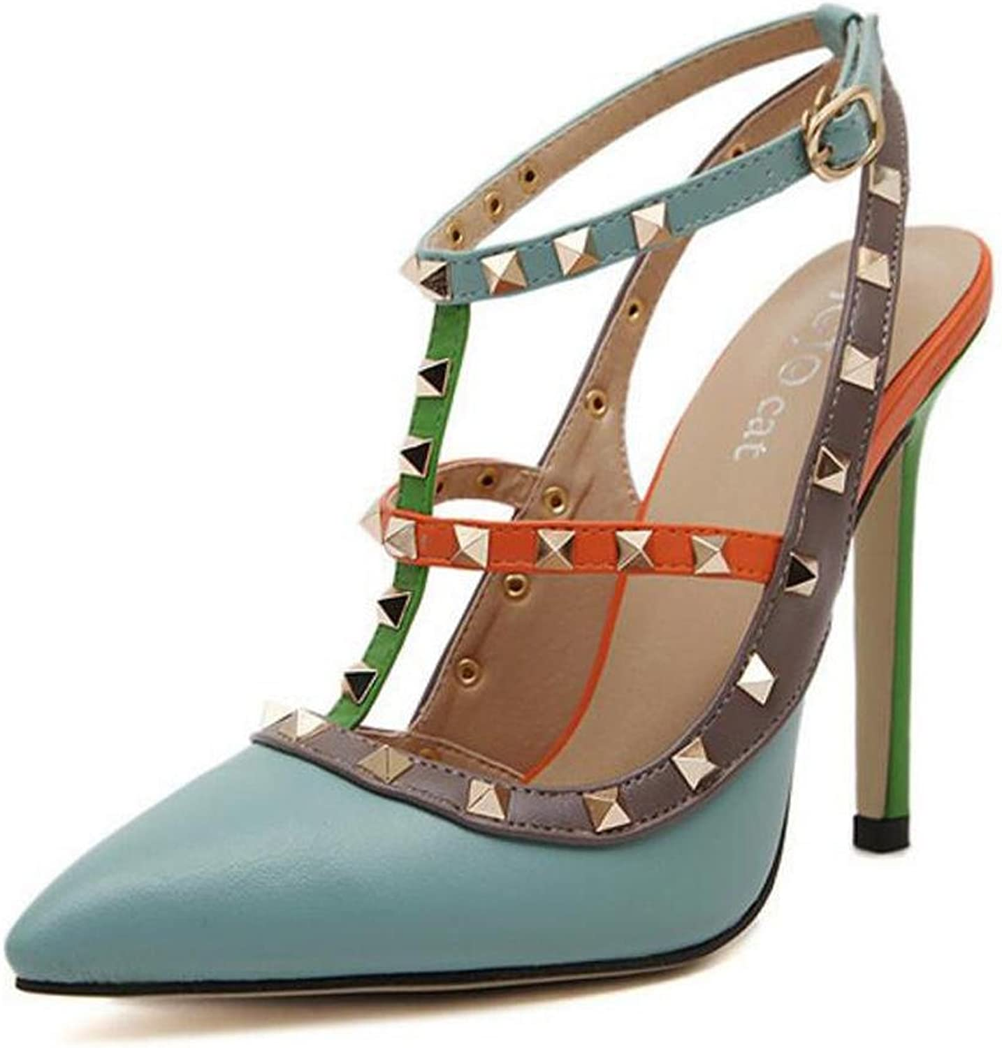 L@YC Women 'S High - Heeled shoes Rivets Fight color Pointed Dress Dress Sandals
