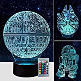 Airnogo 3D Star Wars Lamp - Star Wars Gifts - 3 Pattern & 1 Base & 1 Remote - Star Wars R2-D2 / Death Star/Millennium Falcon - Star Wars Light - Star Wars con control remoto