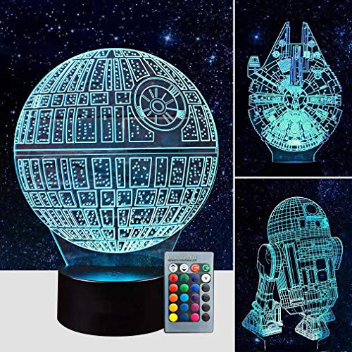 3D Star Wars Lamp - Star Wars Gifts - 3 Pattern & 1 Base & 1 Remote - Star Wars R2-D2 / Death Star/Millennium Falcon - Star Wars Light - Star Wars con control remoto