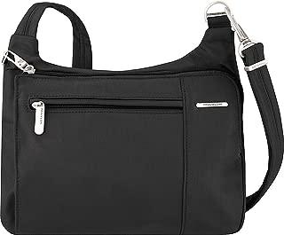 Anti-Theft Asymmetric East/West Bag - Small Nylon Crossbody for Travel & Everyday - (Black/Dusty Rose Interior)