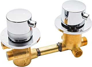 3 Handles Control Valve 4-way Chrome Thermostatic Brass Shower Diverter Mixer Ta