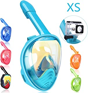 qingsong Full Face Snorkel Mask, Snorkeling Mask with Detachable Camera Mount, 180 Degree Panoramic View Snorkel Set Anti-Fog Anti-Leak, Ideal Gifts for Kids Youth Adult
