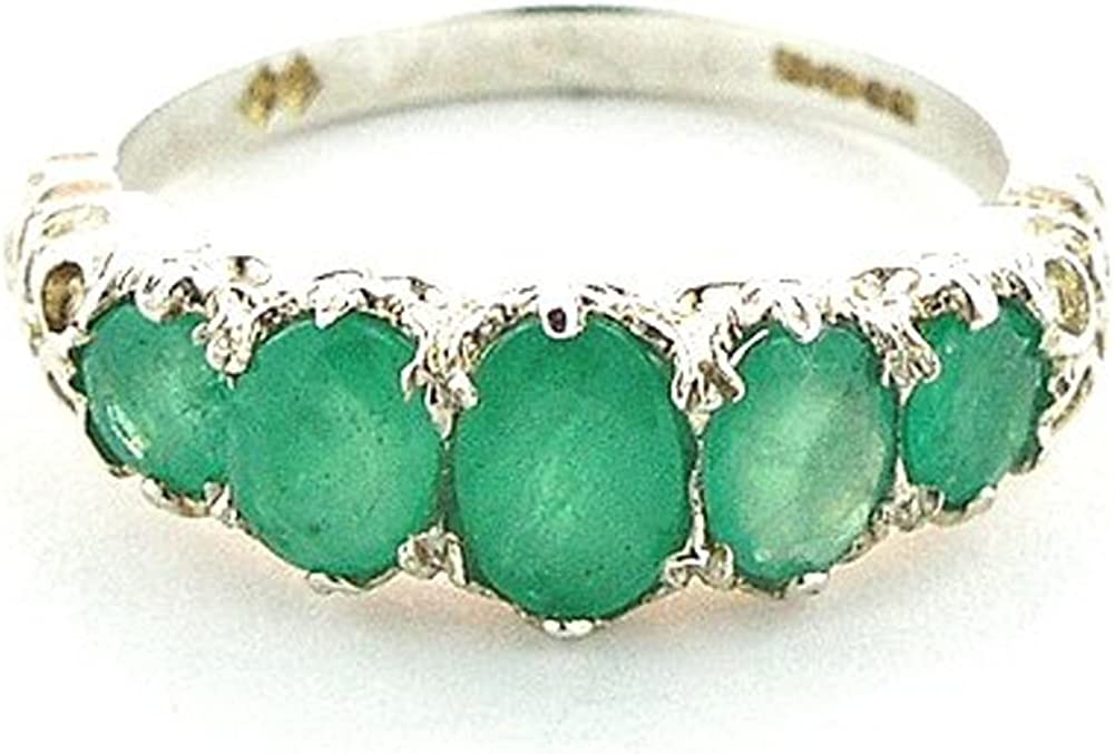 925 Sterling Silver Real Genuine Womens 限定モデル Band Ring Emerald 蔵