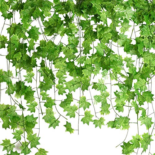Semoic 12 Pcs 7.5Ft Artificial Maple Leaves Hanging Vines, Fake Ivy Garland Hanging Plants for Garden Wedding Party Decorations