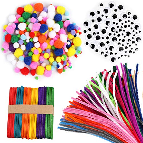 Pipe Cleaners Pom Poms All in 1 Craft Set 6mm x 12 inch Chenille Stems Assorted Color Self Adhesive Wiggle Googly Eyes Rainbow Wooden Popsicles - DIY Art for Boys Girls Crafts Assorted Sizes