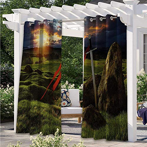 Outdoor Door Curtain Arthur Camelot Legend Myth in England Ireland Fields Invincible Myth Image Waterproof Sun Light Blocking Curtain for Sliding Door/Foyer/Arbor/Lanai Green and Red W55 x L72 Inch