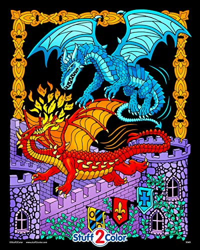 Dueling Dragons - 16x20 Fuzzy Velvet Coloring Poster