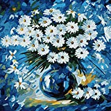 """Mural Wall Art Paint by Numbers DIY Acrylic Painting Kit for Kids & Adults Beginner – 16"""" x 20"""" Fresh Flowers with 3 Brushes & Bright Colors"""
