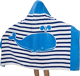 SearchI Hooded Bath Towel for Kids Boys Girls 2 to 8 Years Old, Fast Drying Beach Towel for Swim Pool Ultra Absorbent 100% Cotton Poncho Bath Towel Dolphin, 50x30 Inches