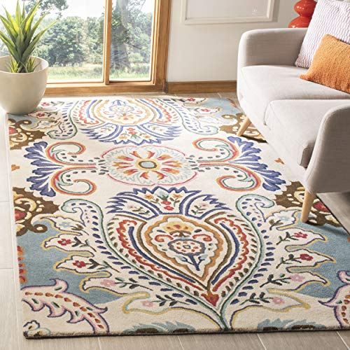 Safavieh Bella Collection BEL118A Handmade Ivory and Blue Premium Wool Area Rug (8' x 10')