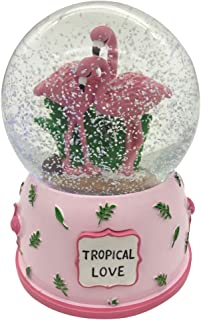 Agyvvt Flamingo 3D Snow Crystal Ball Music Box Glass Glitter 6 x 4 inch Best Gift for Girlfriend Baby Girls Home Decor (Pink)