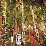 Flintronic Cascada Luces de La cadena, 8 modos Solar Luces de La Rama de Hadas 10 Hebras 200 LEDs Colgantes Twinkle Luces de USB ,Actualizado Energía Solar Operado con Remoto Para Interior y Exterior
