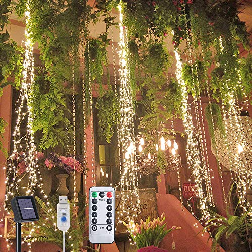 Flintronic 200 LED Outdoor Solar Lights, 8 Flashing Modes, Solar/USB Powered, IP65 Waterproof Copper Wire Waterfall Lights, Remote Controlled Timer and Hooks, Fairy Lights Outdoor (Warm White)