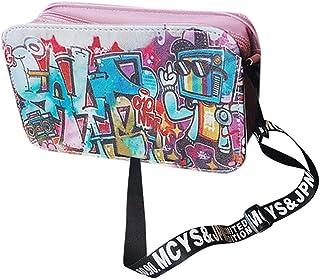 Wultia - Bags for Women Fashion Ladies Leather Personality Graffiti Zipper Shoulder Bag Messenger Bag Party Bags Bolsa feminin *0.92 Pink