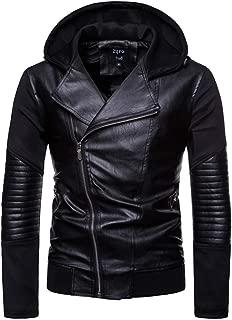 VEZAD Store Men fold Leather Autumn&Winter Jacket Biker Motorcycle Zipper Outwear Warm Coat