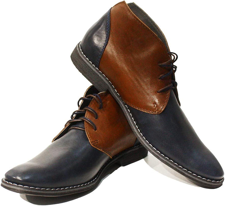 Peppeskor Modello Marcello - Handgjorda italienska läder herr Färg Navy Navy Navy blå Ankle Chukka stövlar - Cowhide Smooth läder - Lace -Up  köp bäst
