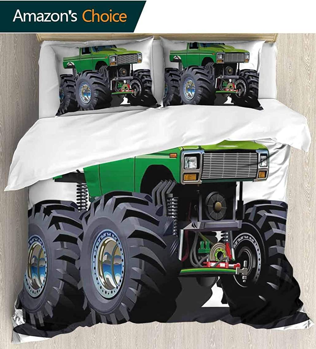 Cars Modern Pattern Printed Duvet Cover,Giant Monster Pickup Truck with Large Tires and Suspension Extreme Biggest Wheel Print Soft Microfiber Bedspread Coverlet Bedding 68