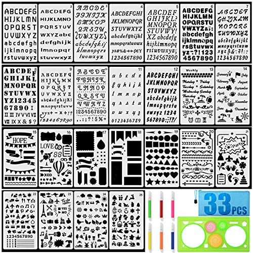 Letter Stencils, 25PCS Alphabet Stencils with 6PCS Color Pens, Geometric Drawing Tool and Waterproof Bag for Bullet Journaling and Painting for Adults/Children