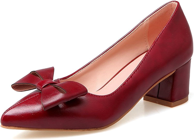 AIWEIYi Women Pointed Toe Pumps Sweet Bow Square Med Heel Platform Dress shoes Black