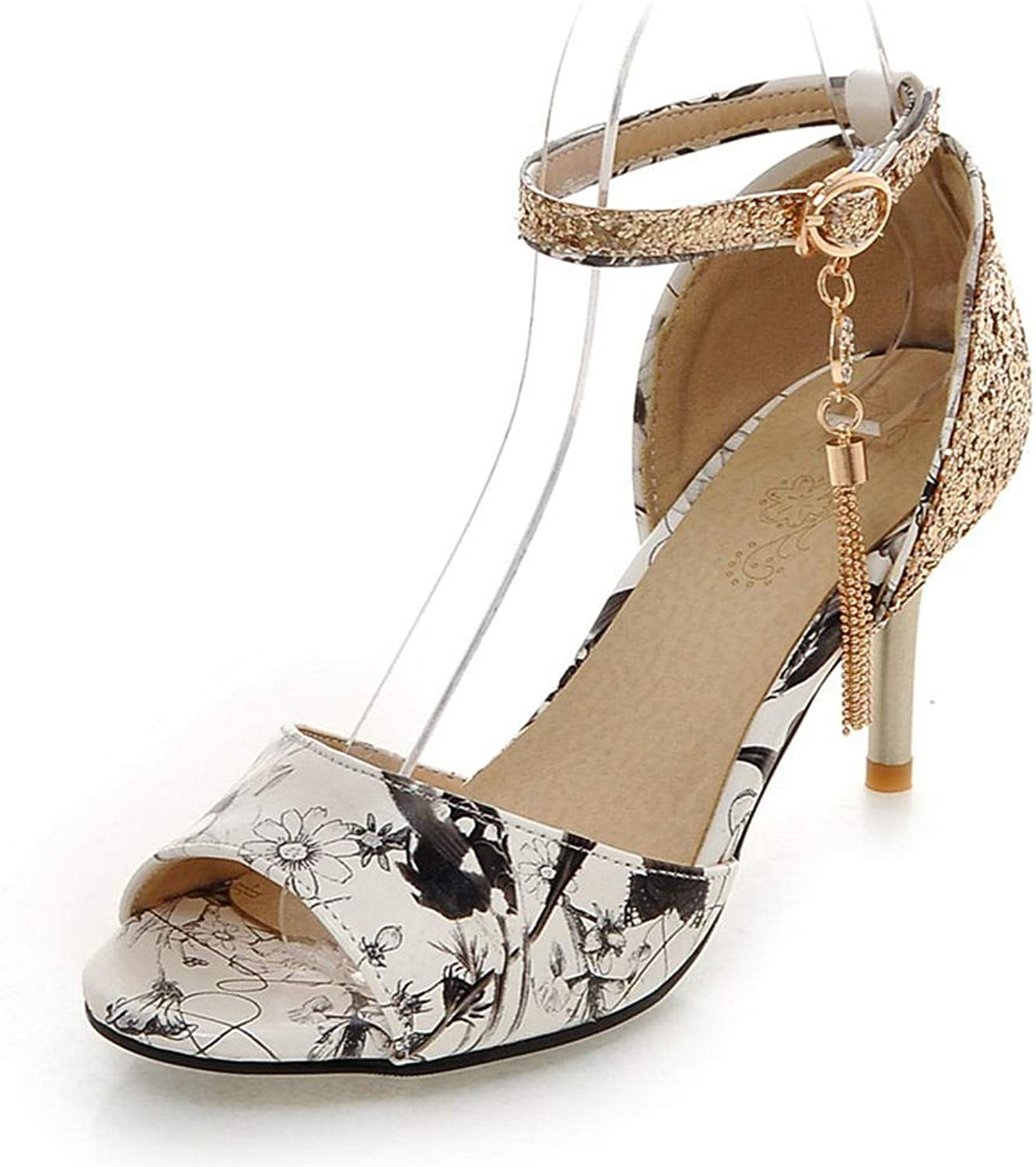 Btrada Women High Heel Sandals Crystal Metal Decoration Print shoes Casual Party Sexy Summer Sandals