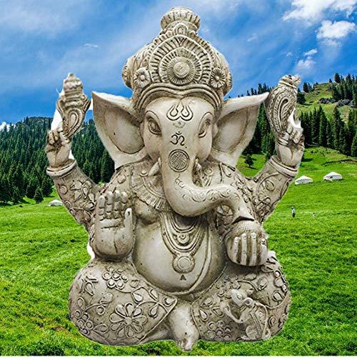 Pevfeciy Ganesha Figur Groß Buddha Statue,Buddha Figur Groß Ganesha Statue,Resin Dekoration FüR Schreibtisch Wohnzimmer Garten,Wasserdicht, Kein Ausbleichen(L*B*H -26 * 18 * 30 cm)