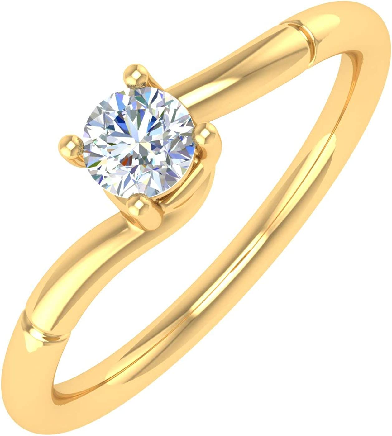 1/4 Carat 4-Prong Set Diamond Solitaire Engagement Ring Band in 14K Gold - IGI Certified