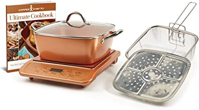 Copper Chef 853 Casserole & Induction 5 pc Set & Induction Cooktop, 5 Piece, Casserole 5pc Set with Copper Induction Cooker