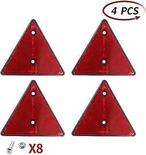 AOHEWEI 4 x Reflectores Traseros Rojos Triángulo Reflectante Remolque Tornillo Fijación Triángulo Reflectores Traseros par...