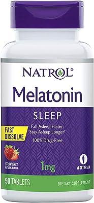Natrol Melatonin Fast Dissolve Strawberry Tablets, 1mg, 90 count